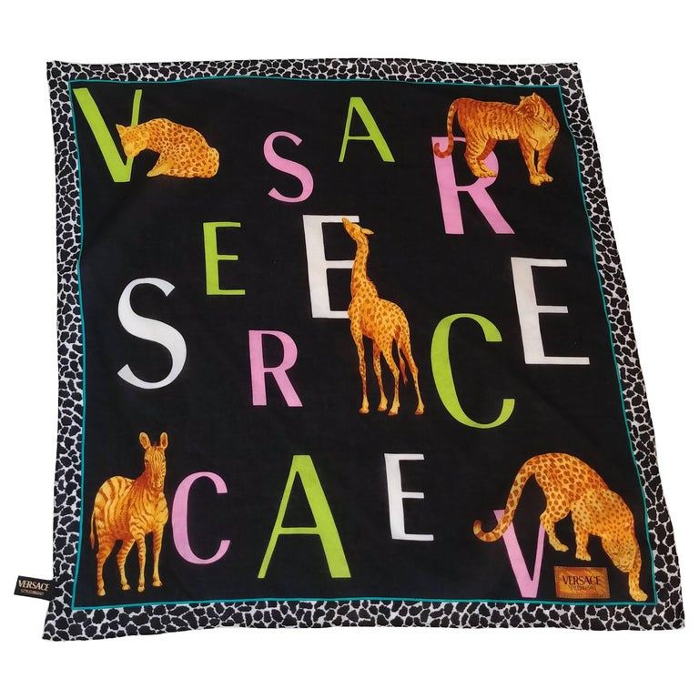 1990s Versace Animal Print Cotton Scarf
