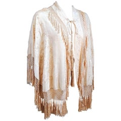 1920s Embroidered Fringe Capelet