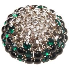 Christian Dior Vintage Ombre Rhinestone Cabochon Domed Brooch