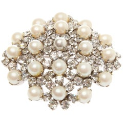 Christian Dior Crystal and Pearl Brooch