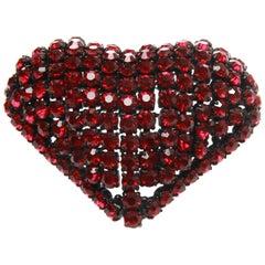 Christian Dior Rhinestone Domed Heart Brooch