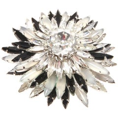 Christian Dior Black and White Flower Brooch