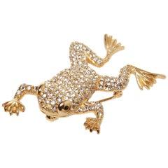 Christian Dior Swarovski Encrusted Frog Brooch