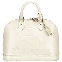Louis Vuitton White and Ivory Epi Leather Alma Pm Handbag