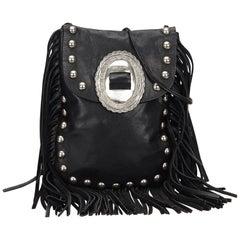 Saint Laurent Black Leather Silver Toned Studded with Fringe Shoulder Bag