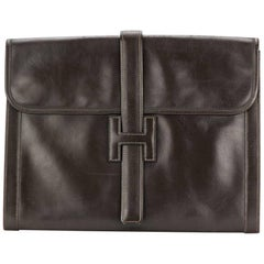 Hermes  Large Jige Chocolate Box Leather Clutch