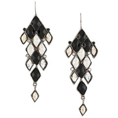 Yves Saint Laurent Faceted Black and White Drop Earrings