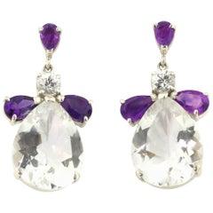 Sapphire Amethyst Silver Quartz Sterling Silver Stud Earrings