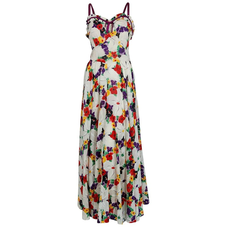 1930's Jean Carol Colorful Floral Garden Print Cotton Sweetheart Maxi Dress