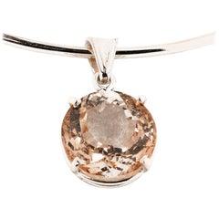 16 Carat Morganite Sterling Silver Pendant