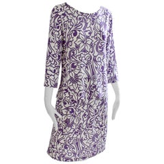 Averardo Bessi Blouse & Skirt Suit 2pc Purple White Floral Abstract Italy 12/10
