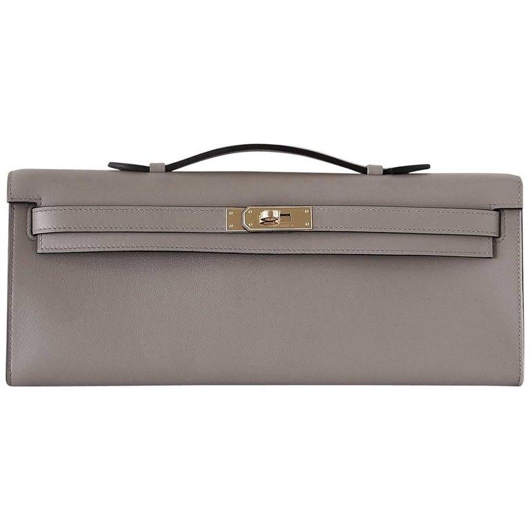 Hermes Kelly Cut Bag Gris Asphalte Gray Clutch Swift Palladium
