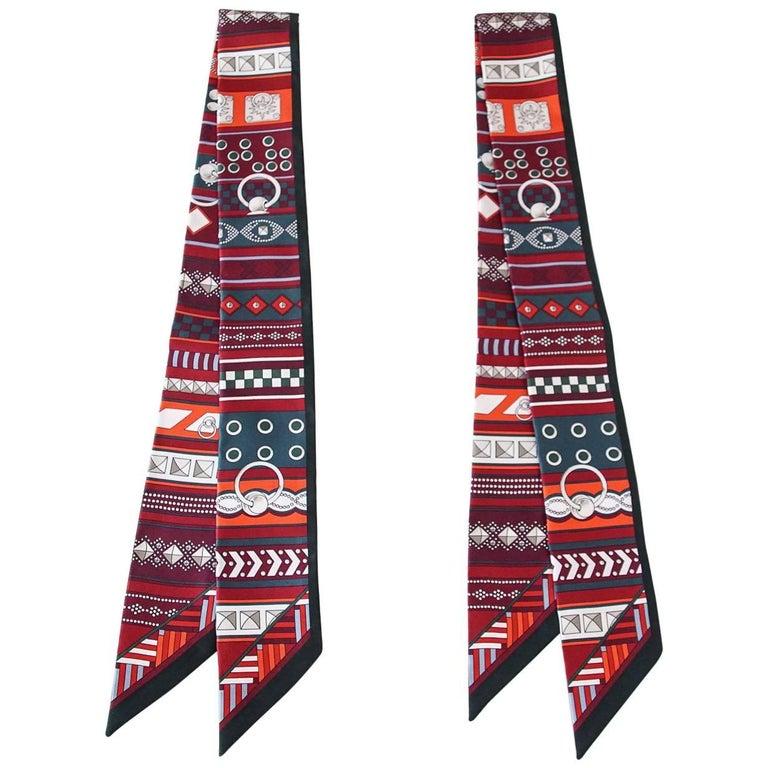 Hermes Twilly Set of 2 Colliers de Chiens Rouge Vert Apin Grenat