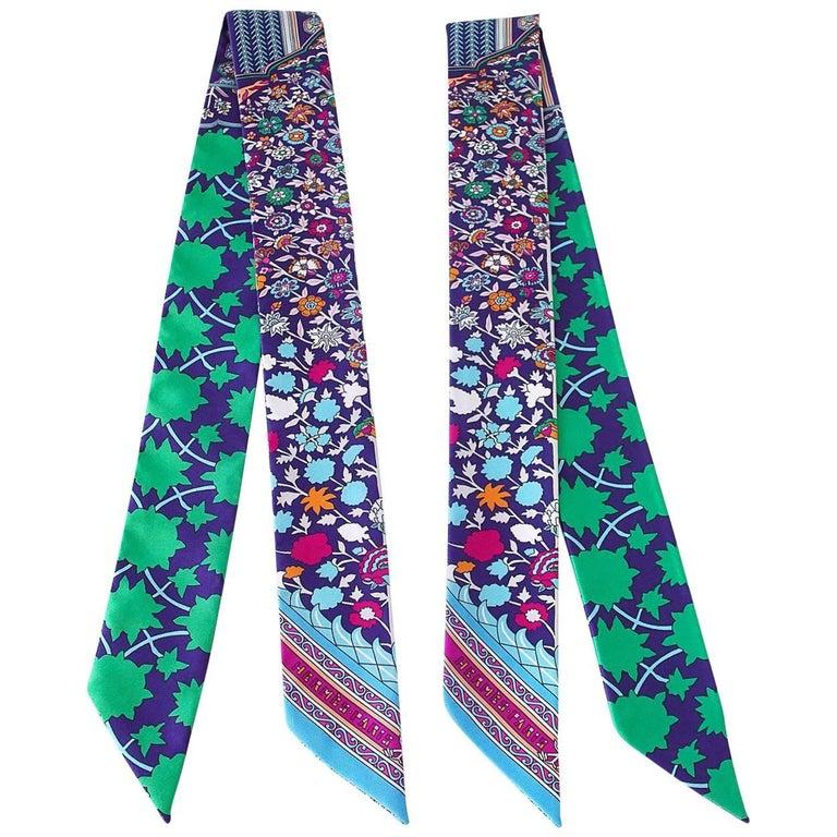 Hermes Twilly Silk Scarf Set of 2 Tapis Persan Fresh Green Blues Fuschia