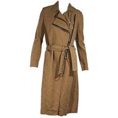 Brown Helmut Lang Asymmetrical Cotton Trench Coat