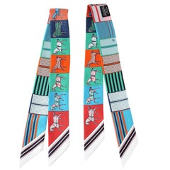Hermes Twilly Couvertures Nouvelles Set of 2 Multi Colour Red Blues Greens
