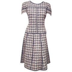 Oscar de la Renta Tweed Blue, Pink & Beige Short Sleeve A Line Dress