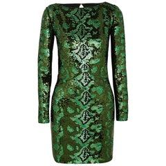 ROBERTO CAVALLI Cutout sequined silk-chiffon mini dress