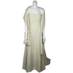 Oscar De La Renta Cream Silk Taffeta Strapless Gown - 4