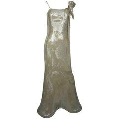 Lourdes Chavez Silver Sequin Gown