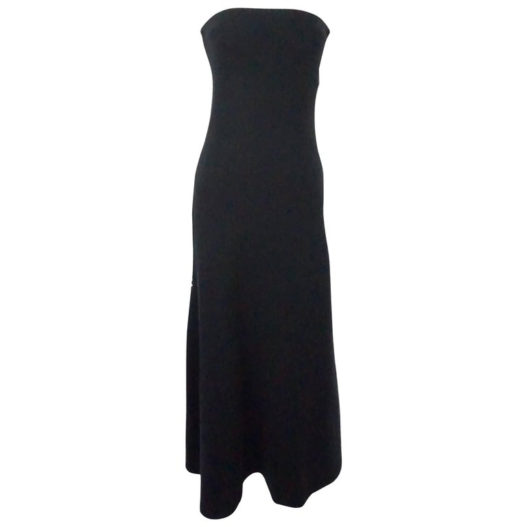 Ralph Lauren Black Label Navy Cashmere Strapless Maxi Dress At 1stdibs