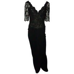 Vicky Tiel Black Lace Beaded and Silk Off Shoulder Gown