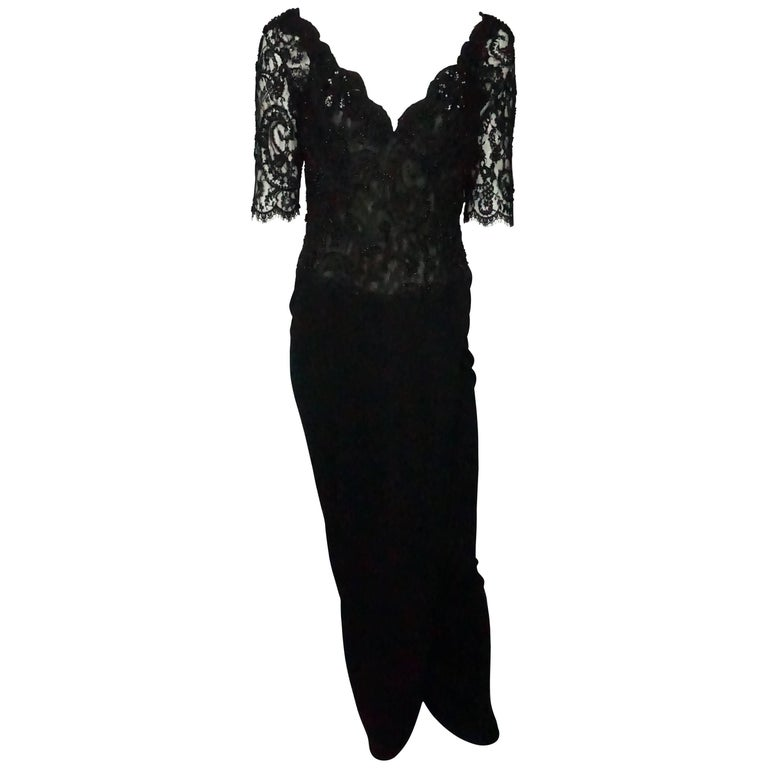 Vicky Tiel Black Lace Beaded and Silk Off Shoulder Gown  For Sale