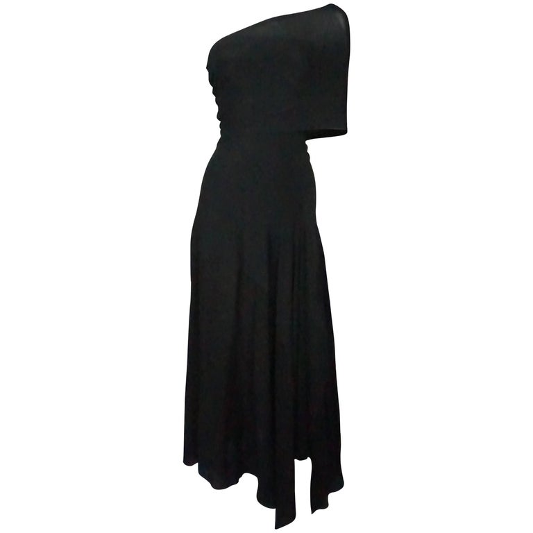 Donna Karan Vintage Black Jersey One Shoulder Dress  For Sale