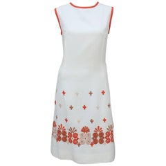 1960's White Linen Shift Dress With Exotic Embroidered Hem