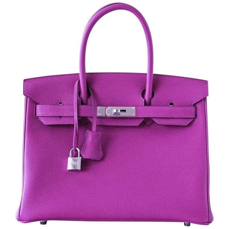 Hermes Birkin 30 Bag Rose Poupre Pink Togo Palladium