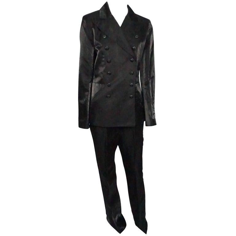 Chanel Black Silk Lame Tuxedo Style Pant Suit - 40 - 09C