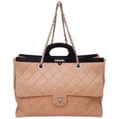 Chanel Large Delivery Beige Pink Quilted Aged Leather with Black Plastic Handles