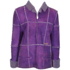 Chanel Purple Sherling Coat - 40 - 00A