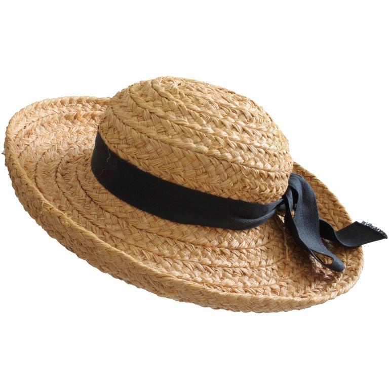 Helen Kaminski Raffia Wide Brim Hat Classic 5 Handmade in Madagascar One  Size For Sale c634537f1446