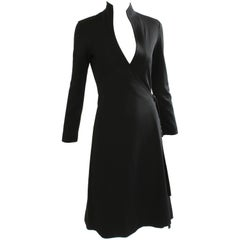 70s Clovis Ruffin Black Jersey Wrap Dress with Swan Neck Collar Vintage Sz 7/8