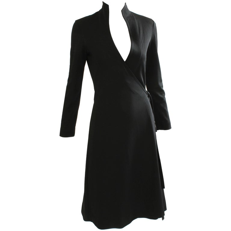 70s Clovis Ruffin Black Jersey Wrap Dress with Swan Neck Collar Vintage Sz 7/8