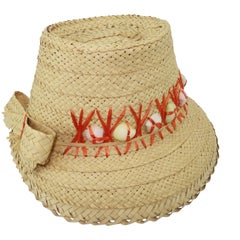 C.1960 Straw Beach Hat With Shell Trim & Bow
