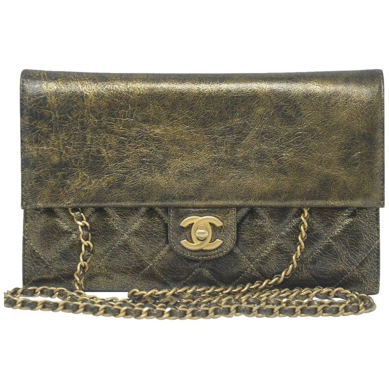 Chanel Single Flap Gold Leather Small Handbag