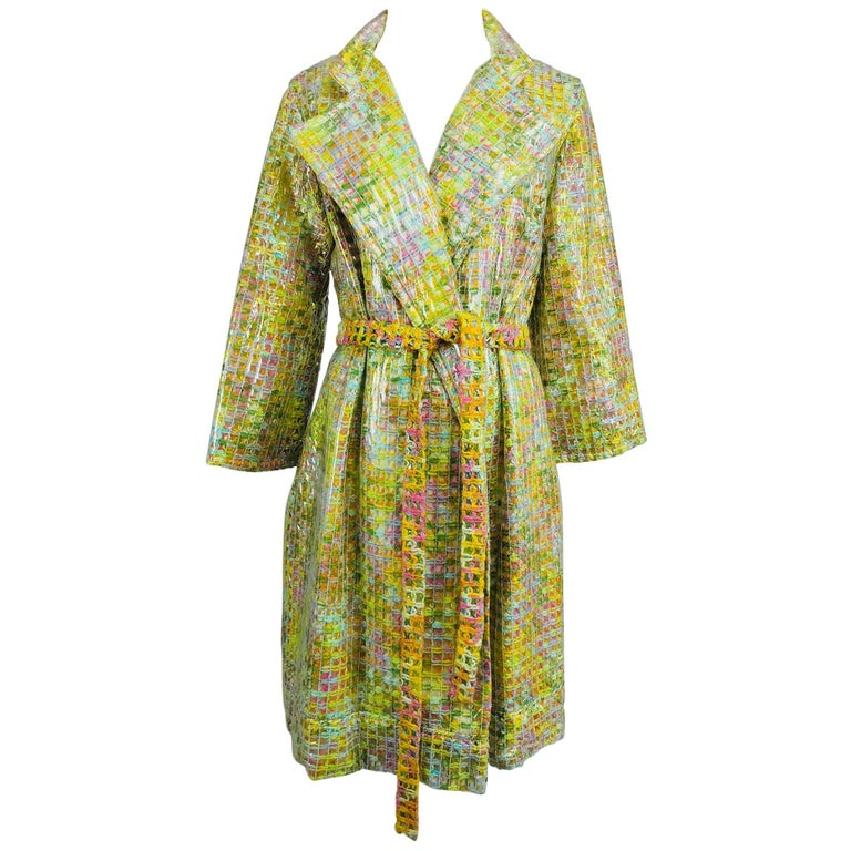 Clear vinyl covered tweed novelty rain coat with belt 1960s For Sale