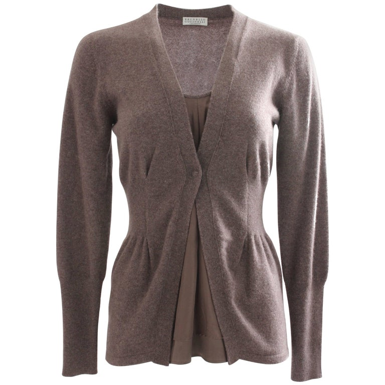 Brunello Cucinelli Cashmere Cardigan Sweater Pullover with Silk Insert US M
