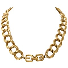 "20th Century Givenchy Gold ""GG"" Logo Double Chain Link Choker Necklace"