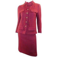 Chanel Vintage Haute Couture raspberry color skirt suit