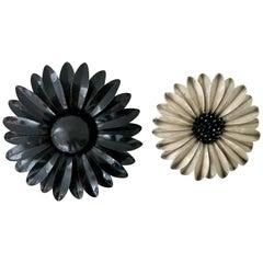 "60'S Pair Of Organic Modern Enamel ""Flower Power"" Brooches"