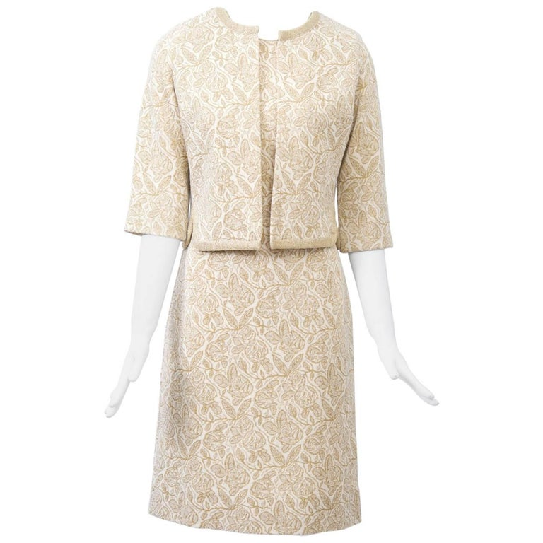 Kimberly Metallic Knit Dress and Jacket For Sale