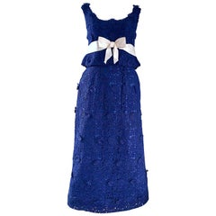 Bob Bugnand Couture 1960s Navy Blue Crochet Lace Vintage 60s Belted Gown
