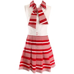 Italian Red and White Striped A Line Knit Vintage Scooter Dress, 1960s