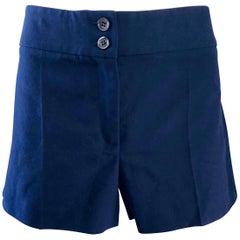 Michael Kors Collection Navy Blue Low Rise Cotton Chino Shorts, 2000s