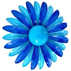 """70'S """"Flower Power"""" Enamel Two-Tone Blue Large Flower Brooch"""