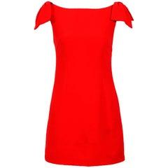 Valentino Roma red crepe bow sleeve mini sheath dress