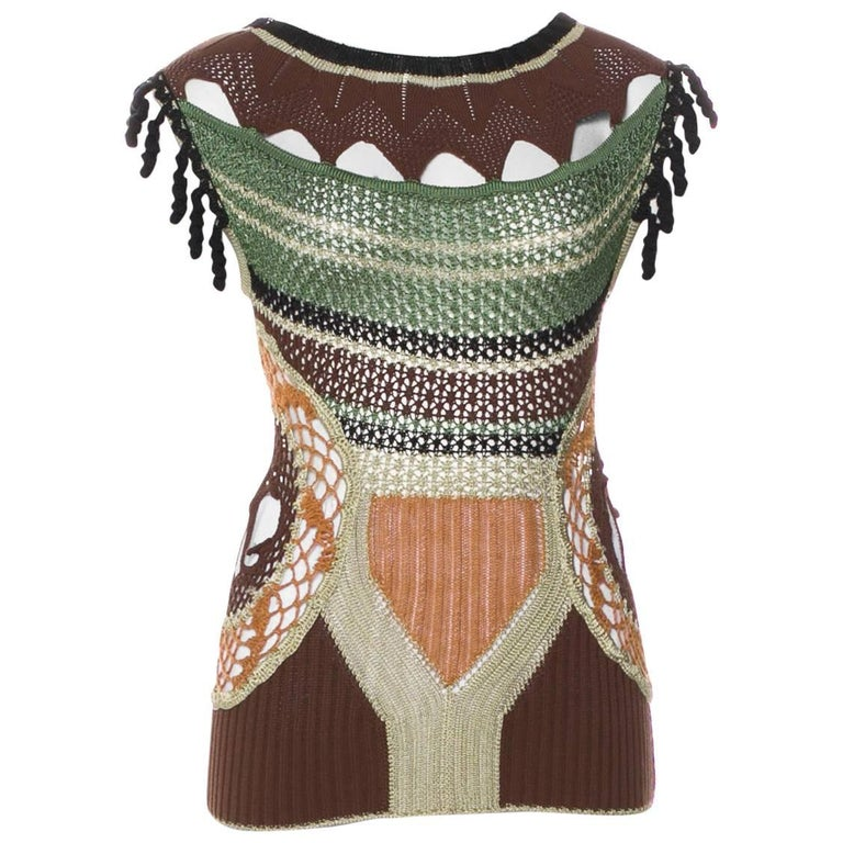Jean Paul Gaultier Macrame Top with Tassels and JPG Dreamcatcher For Sale